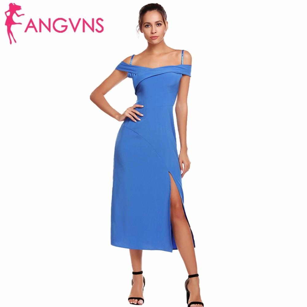 ANGVNS Women Sexy Cold Shoulder Formal Dresses Slash Neck Spaghetti Straps  Elegant Midi Side Split Dress Femme Vestidos 3XL -in Dresses from Women s  ... c1b83903d26d