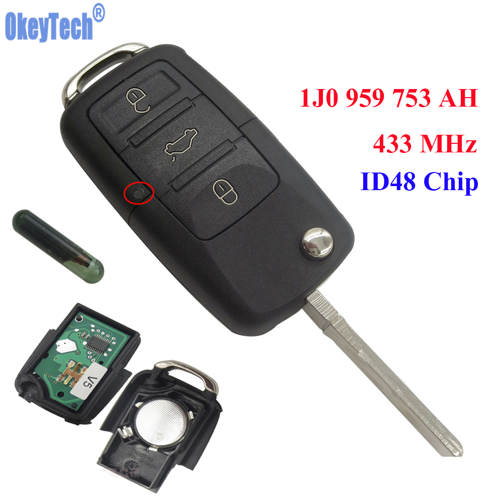 OkeyTech 433 MHz 3 Knöpfe Schlagen Uncut Remote Key Fall Fob mit Span id48 für VW PASSAT 2002-2005 Polo Beetle/Skoda 1J0959753AH