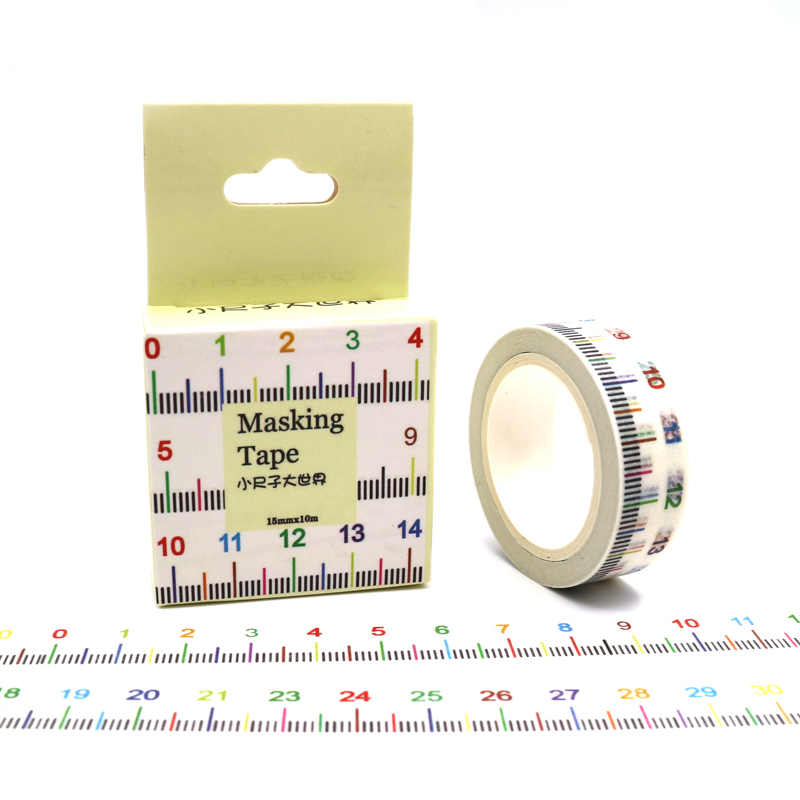 15mm*10m Box Package Wide Novelty Measure Ruler  Washi Tape Masking Tape Decorative Scrapbooking Adhesive DIY Sticker Label Tape