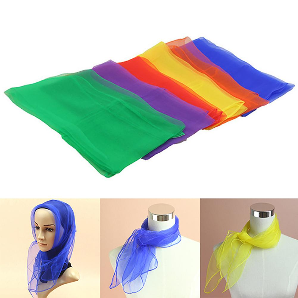 6Pcs 60cm Solid Color Square Juggling Dance Scarves Magic Tricks Props Kids Toy