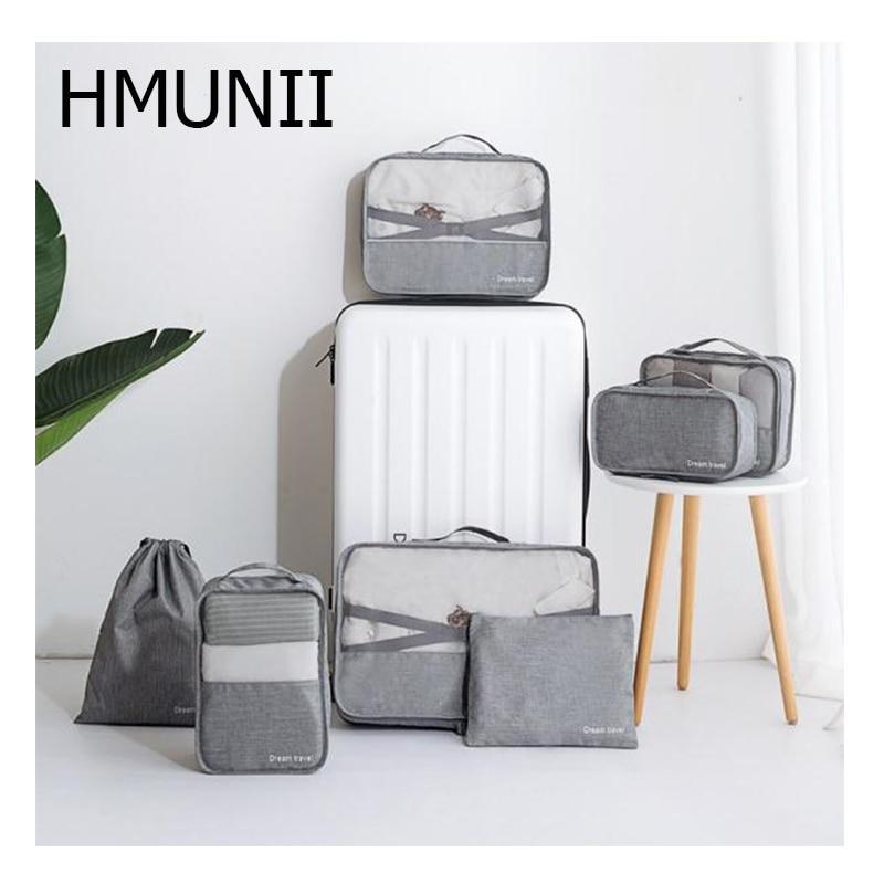 HMUNII Fashion Travel Accessories Packaging Storage Bag 7 Sets Of Storage Bags Underwear Footwear Travel Waterproof Wash Bag