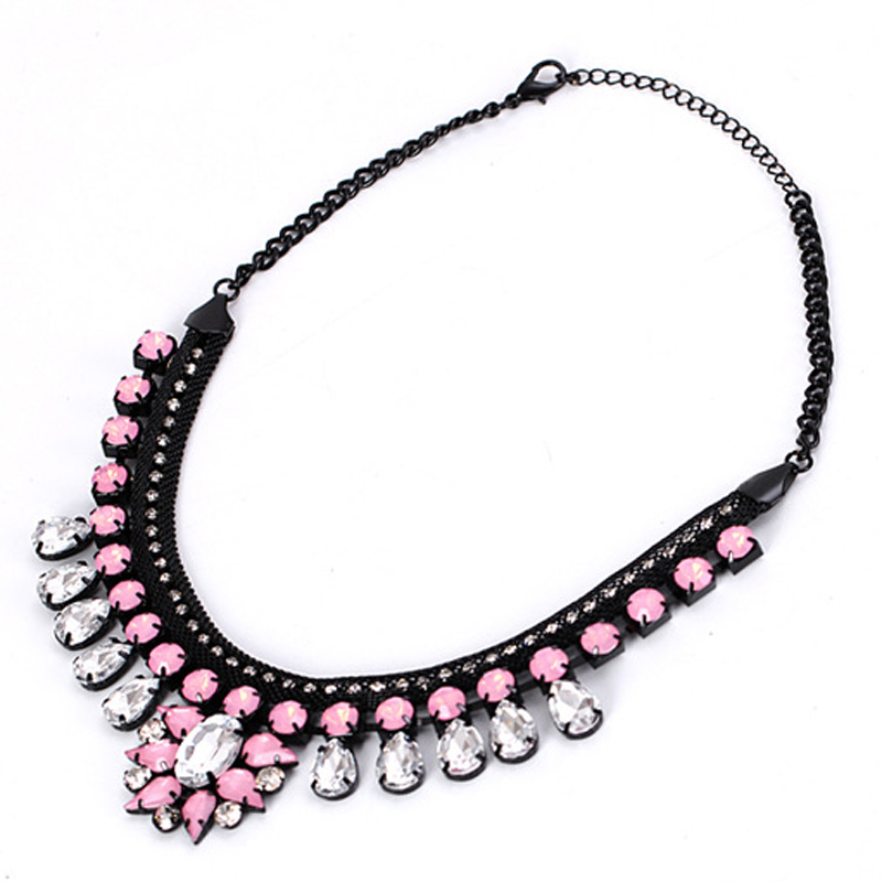 European and American popular manufacturers selling big women chain thick pink gem crystal pendant necklace for women #N020