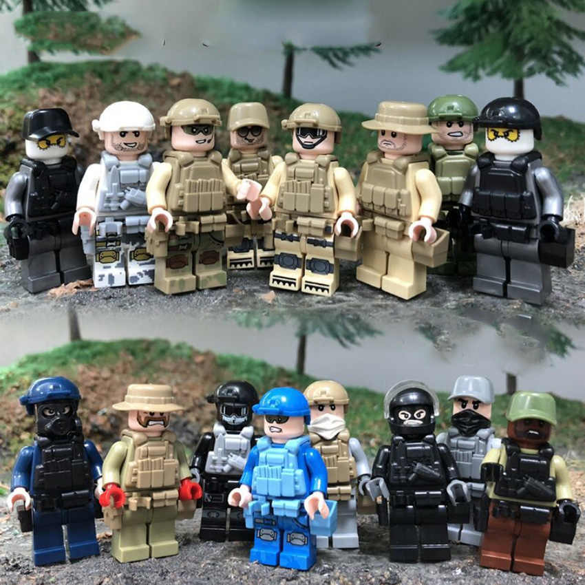 16pcs Military Building Blocks Navy Army Air Force Soldier Figures With Equipment Brick DIY Toys Legoinglys Kids Gift
