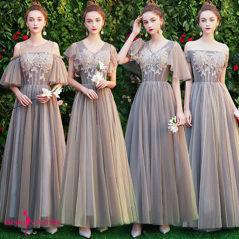 Beauty Emily 4 Styles Grey Elegant Bridesmaid Dresses Long Lace Appliques Chiffon Party Dress For Wedding Pleated Embroidery