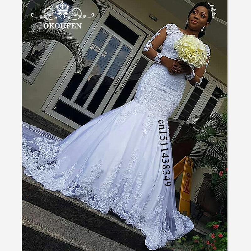 73d848d0e Amazing Lace Puffy Mermaid Wedding Dress For Women 2019 White Chapel Train  Sheer Long Sleeves African Women Bridal Dresses Gown Details &  Specification :