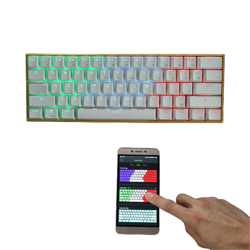 RGB Wireless Mechanical Gaming Keyboard LED Backlit Keycaps Mini Blue/Red/Brown Switch Keyboard USB Cable Included For PC Laptop brand mantistek gk2 104 keys mechanical keyboard led backlit nkro rgb blue red black brown switch computer gaming keyboard