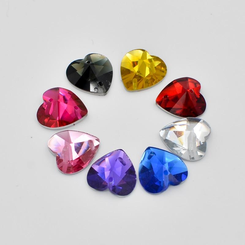 DIY 30Pcs 12mm Heart Crystal Flatback 2 Hole Rhinestone Wedding Buttons  Crafts R04 d9999f2ef0b0