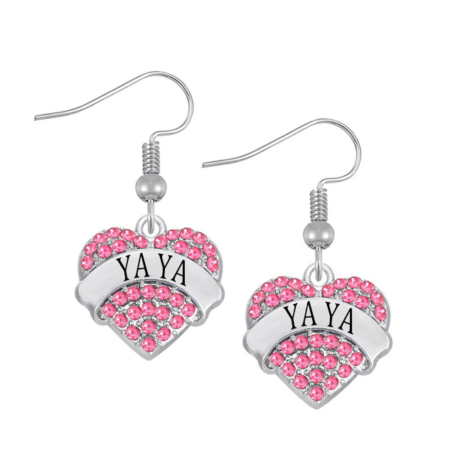 a6a309f03932e Personalized Engraved Alloy Crystal Hearts Name Yaya Earring 20 pairs a lot