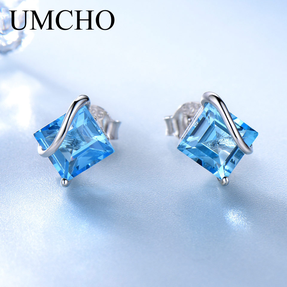 UMCHO 2.5ct Natural Swiss Blue Topaz Gemstone Earrings 925 Sterling Silver Stud Earrings For Women Wedding Gift Fashion 2018 diva 5 0ct natural swiss blue topaz sterling silver feather dangle earrings