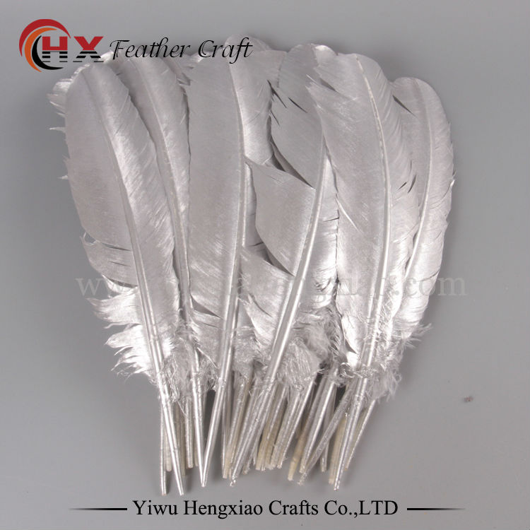 new product 27-32cm Natural gold goose feathers Diy plumes jewelry accessories 10pcs/lot Silver feather