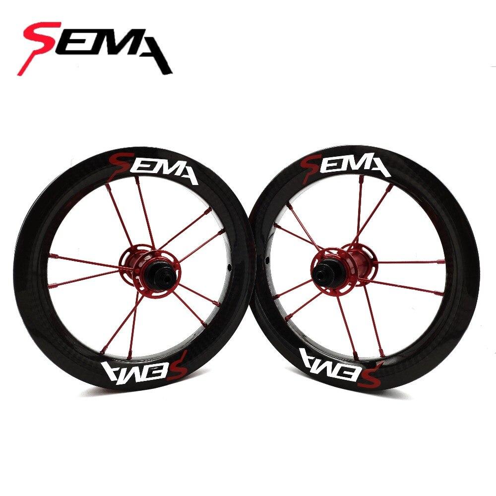 Roues en carbone SEMA 12 pouces 203 roues en carbone et pour enfants équilibre avec SKF 6802 roulement en céramique et titanium rayons meilleure qualité