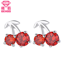 GEHOO Solid 925 Sterling Silver Cherry Shape Red Color Stud Earrings Ear Fine Jewelry Gift for Woman Mom Girls Gift Femme конверт cherry mom cherry mom mp002xc002yw