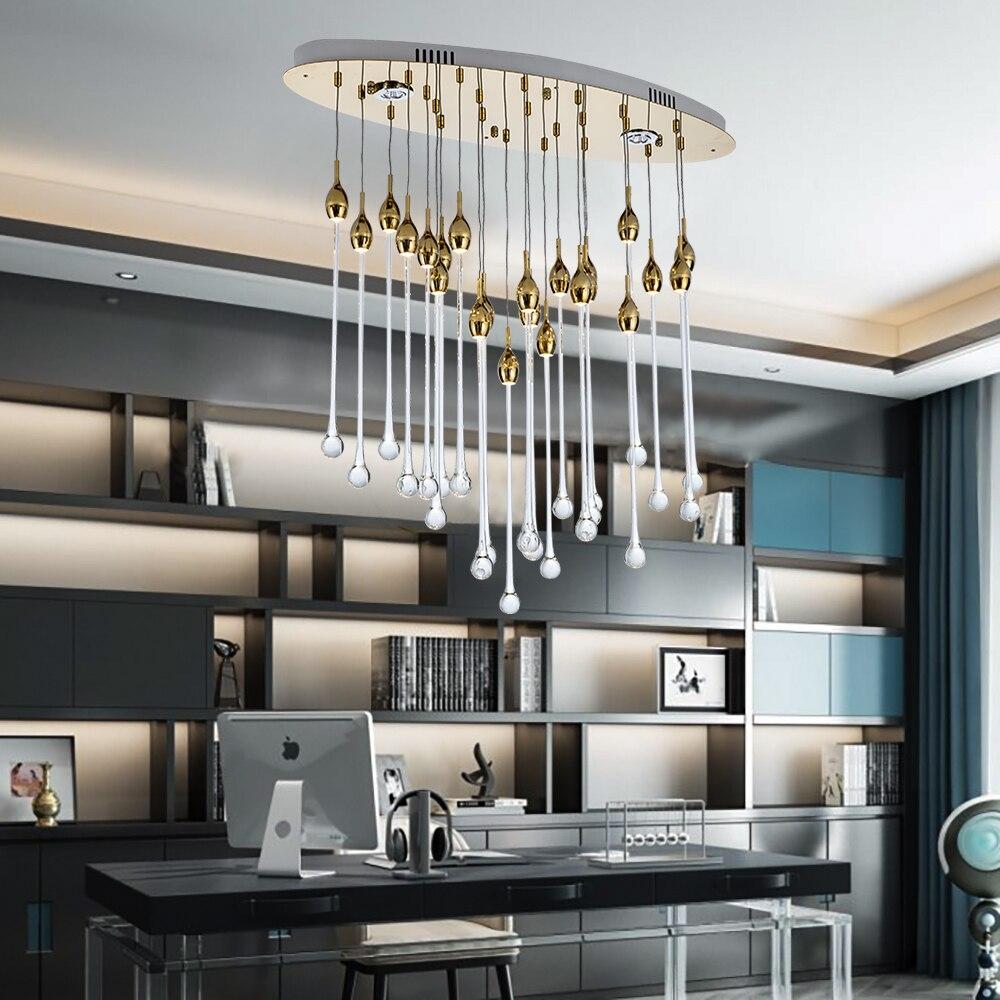 Rectangle Modern Chandelier Lighting Luxury Dining Room Glass Lamp Polished  Chrome
