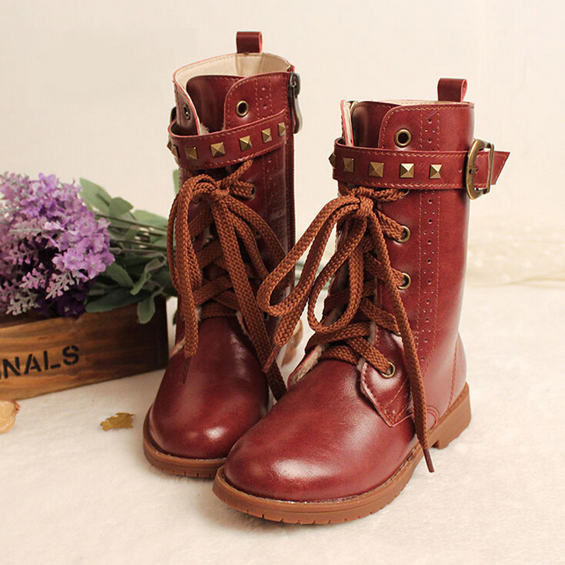 0eb6ab844 2016 winter children shoes girls boots new leather boots kids ...