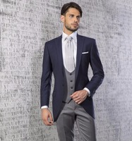 Classic Style One Button Navy Blue Groom Tuxedos Groomsmen Men Wedding Prom Suits Bridegroom (Jacket+Pants+Vest) K:1164