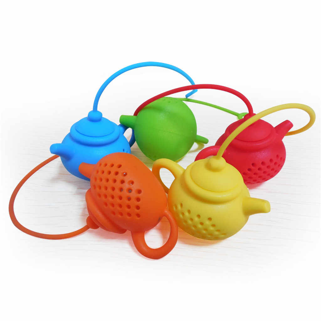 Tea Infuser Green Orange Note fish Tower Strainers FDA Approved Silicone Loose Leaf Herbal Spice Holder Blacktea Brewing A3