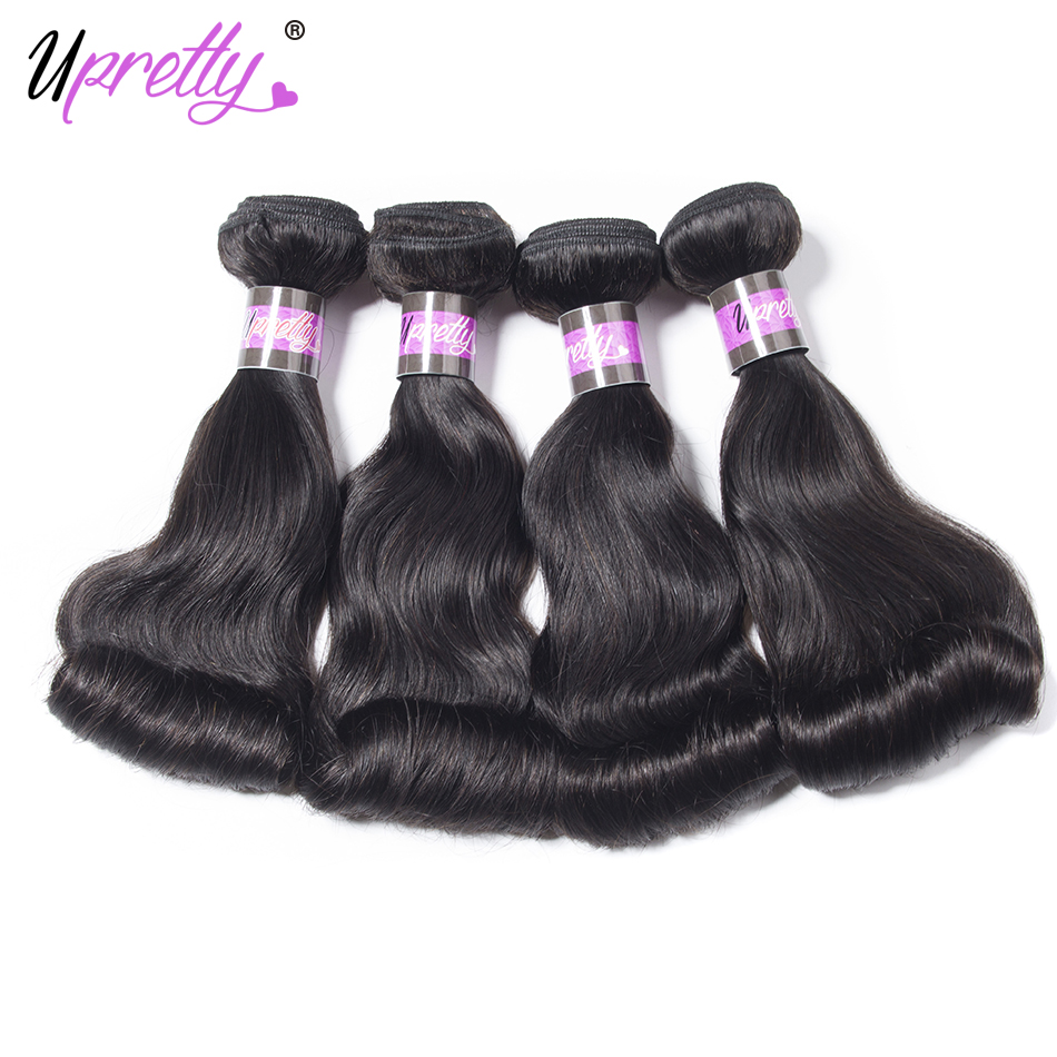Upretty Hair Bouncy Curly Hair Bundles 4 Pcs/lot Peruvian Remy Human Hair Weave Bundles Funmi Egg Curly Hair Extensions