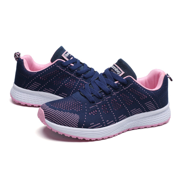 Sneakers Women Sport Shoes Lace-Up Beginner Rubber Fashion Mesh Round Cross Straps Flat Sneakers Running Shoes Casual Shoes 2