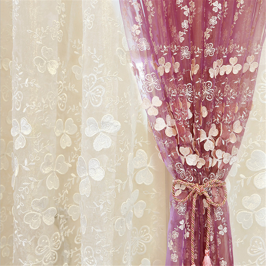 Luxury Curtain Ready Made Curtains Embroidered Voile