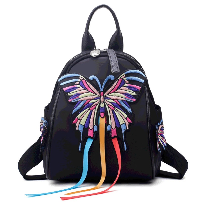 2018 New Spring and Summer Classic National Shoulder Bag Women Oxford Butterfly Bird Backpack Ladies Embroidery Travel Backpack