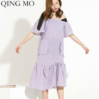 QING MO Women Purple Solid Dress Women Black Lace Shoulder Strap Dress Women Slash Neck Ruffles Dress 2019 Summer ZQY921