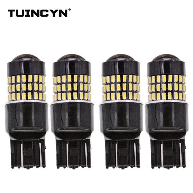 TUINCYN 4pcs LED Signal Light 7443 4W 3 Colors 78 LEDs High Power 12/24V Lens Turn Signal Back Up Reverse Tail Brake LED Light