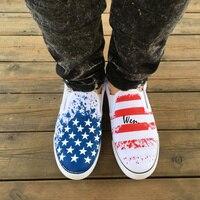 Wen Unisex Slip On Shoes Design Custom USA American Flag Pattern Man Woman S Hand Painted