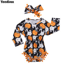 3 to 24 Months Baby Girls Halloween Outfits Set Pumpkin Long Sleeve Romper Headband 2Pcs Toddler Girl Fall Clothes For Children(China)