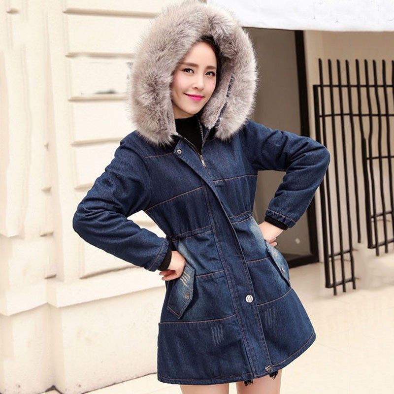 Plus Size 3XL Winter Fur Collar Cowboy Parka Faux Lamb Wool Warm Denim Jacket Coat Mid Long Thick Womens Windbreaker hot autumn womens slim wool warm coat parka navy blue size s xl light tan red navy