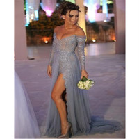 Sweetheart Lace Long Sleeve Prom 2016 Sparkly Beading Pearls High Slit Modest evening Party Gowns Mother of the Bride Dresses