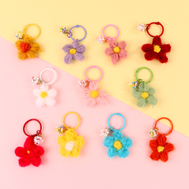 Cute Colorful Knitted Plush Flowers Keychain Keys Holder Cute Charm Ball Keyring For Women Girl Birthday Gift