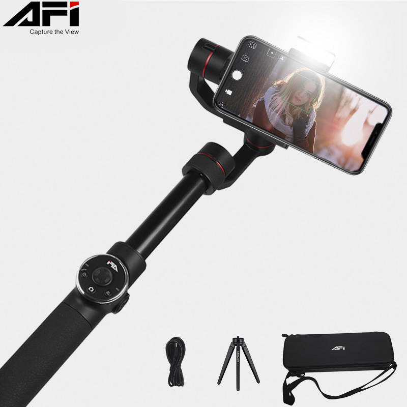 AFI V5 Gimbal Stabilizer For Phone 3-Axis Handheld Smartphone stabilizer cellular phone Selfie Sticks For Gopro Action Camera