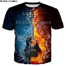 Newest Male 3D T shirt Fashion Fire and Ice Print Male /Female T shirt Guitar Print Heavy Music Band Tee Plus Size 5XL недорого