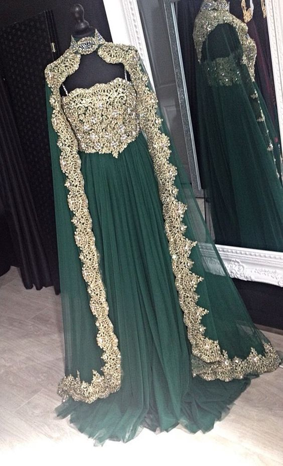 Emerald Green Long Sleeve Evening Dress With Cape Arabic High Neck Party Gowns With Gold Lace Cloak Prom Dresses 2019