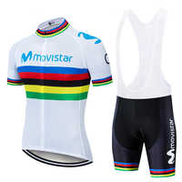 2019 nuevo uniforme de equipo profesional Movistar Ciclismo Sets Maillot Ropa Ciclismo Jersey hombre verano bicicleta Jersey conjunto bicicleta desgaste MTB