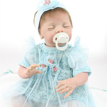 Handmade 22 Inch 55 cm Realistic Silicone Reborn Baby Dolls Close Eyes Newborn Babies Doll Toys Play House Baby Growth Partners