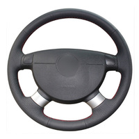 leather hand Top Leather Steering Wheel Hand-stitch on Wrap Cover For Chevrolet Lova Aveo Buick Excelle Daewoo Gentra 2013-2015 Lacetti 06-12 (2)
