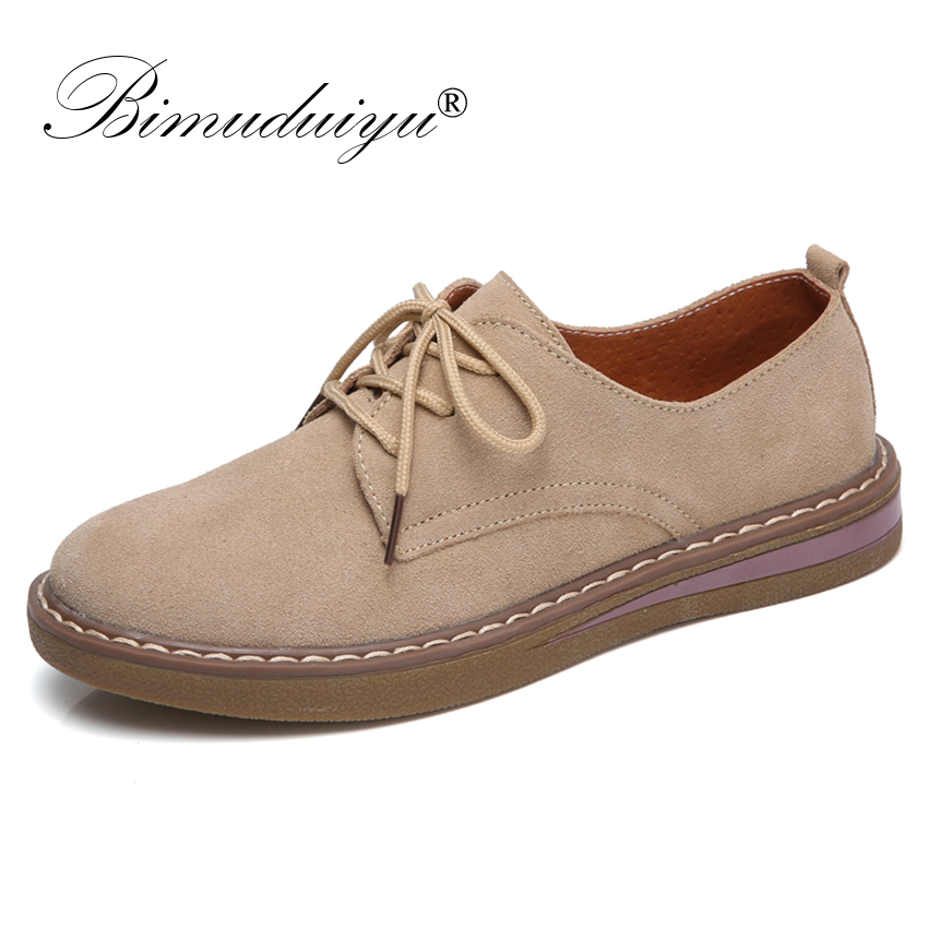 BIMUDUIYU Women Casual Shoes Spring Sneakers Oxford Shoes Women Cow   Suede     Leather   Lace up Shoes British Style Flats moccasins
