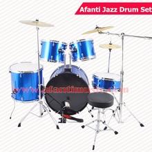 5 Drums 3 Crash Cymbals Blue color Afanti Music Jazz Drum Set Drum kit AJDS 428