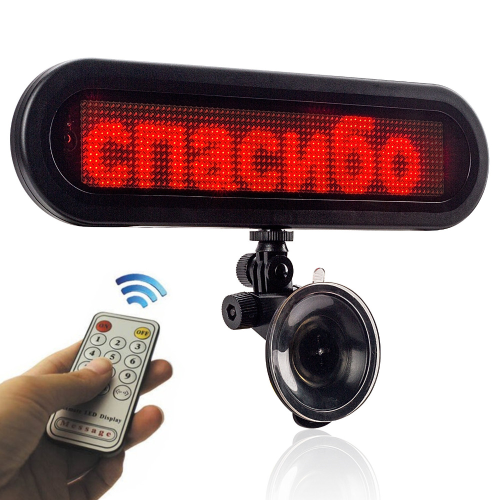 12v red Car glass rear window message Display Board led Sign programmable scroll text ads thank
