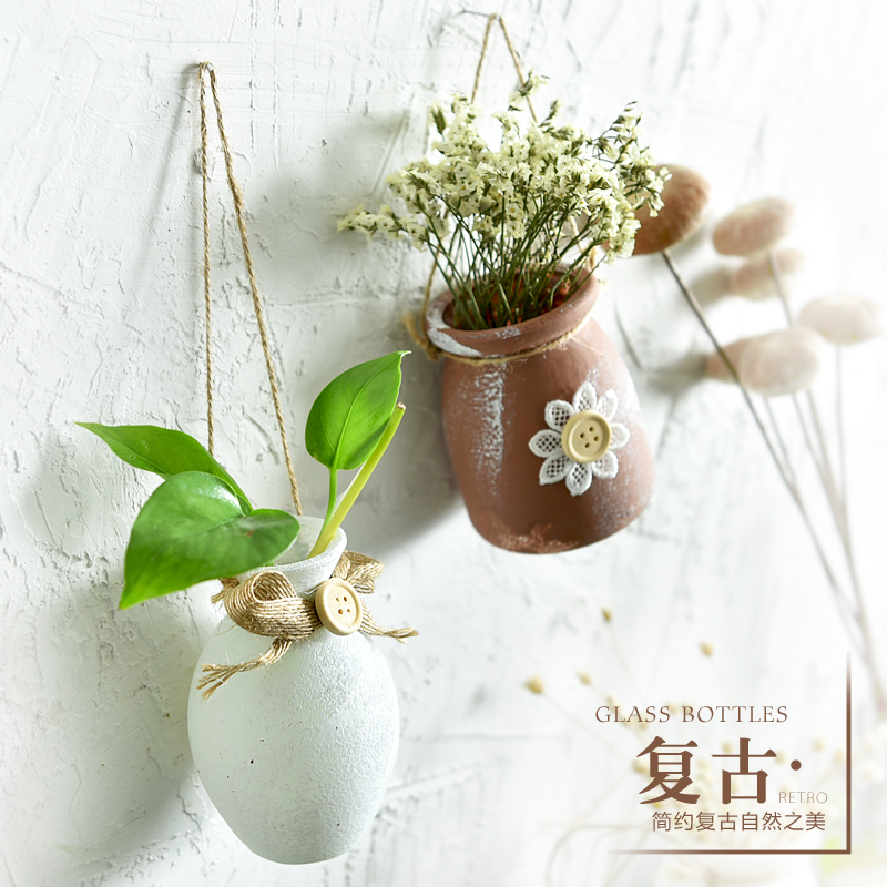 French country frosted oldglass hanging vase rope hanging flower ...