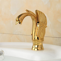 Basin Faucets New Design Swan Faucet Gold Plated Wash Basin Faucet Hotel Luxury Copper Gold Mixer Taps hot and cold Taps