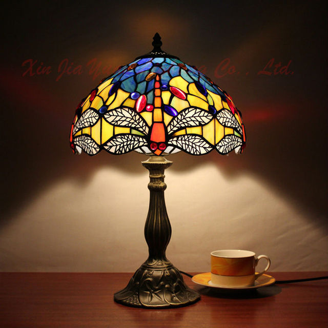 Beautiful Dragonfly Tiffany Style Table Lamps Stained Glass Lustre