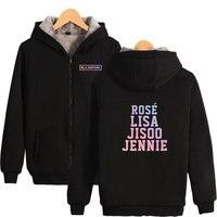 Black Pink Hoodies Korean KPOP Girl Group Zipper Casual Cool Sweatshirt Harajuku Fashion Hip Hop Hoodies Sweatshirt Black Pink
