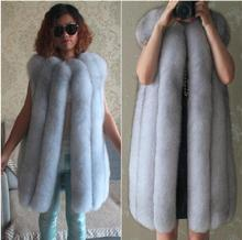 Famous BritishBeautiful vertical real fox fur vest 100/100 genuine fox fur waistcoat Autumn winter Luxury fur vests