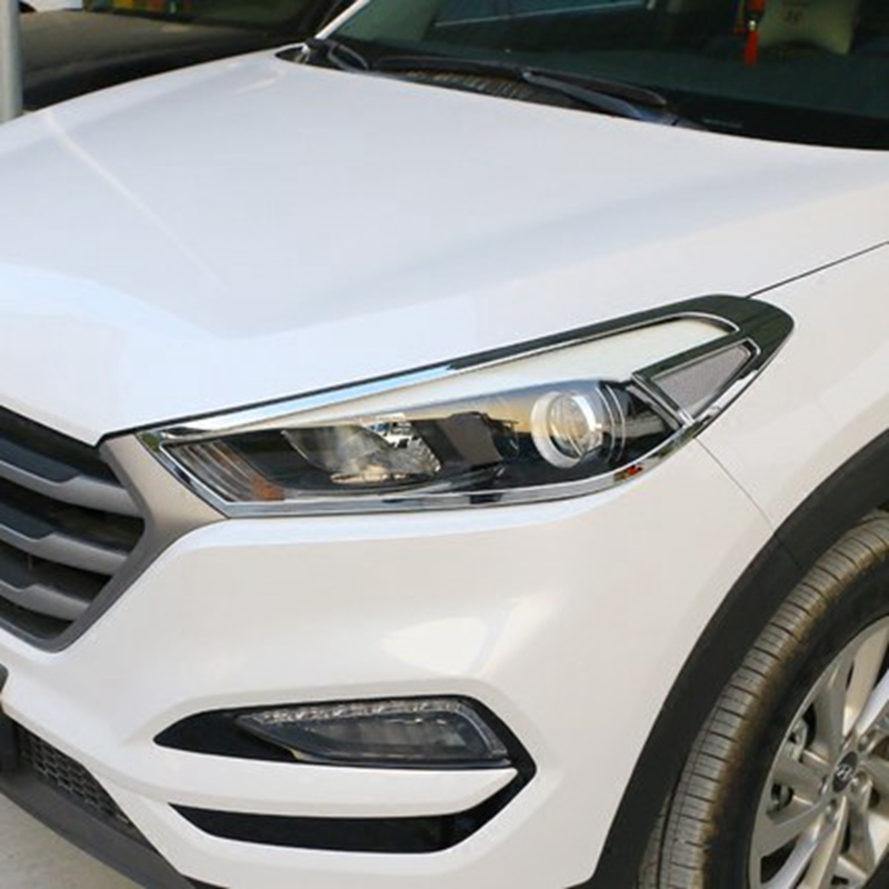 Car Styling Fit For Hyundai Tucson 2016 2017 ABS Chrome Front Headlight Lamp Cover Trims Shade Frame Lamp Hood Decoration 2Pcs