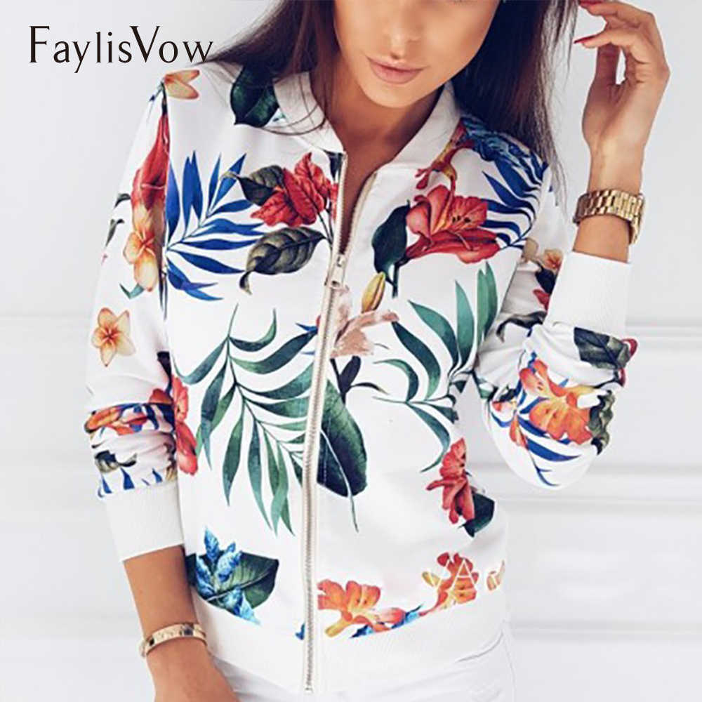 9a0c8d6279c S-5xl Women Casual Zipper Jacket Floral Printed Round Neck Long Sleeve Bomber  Jackets Female