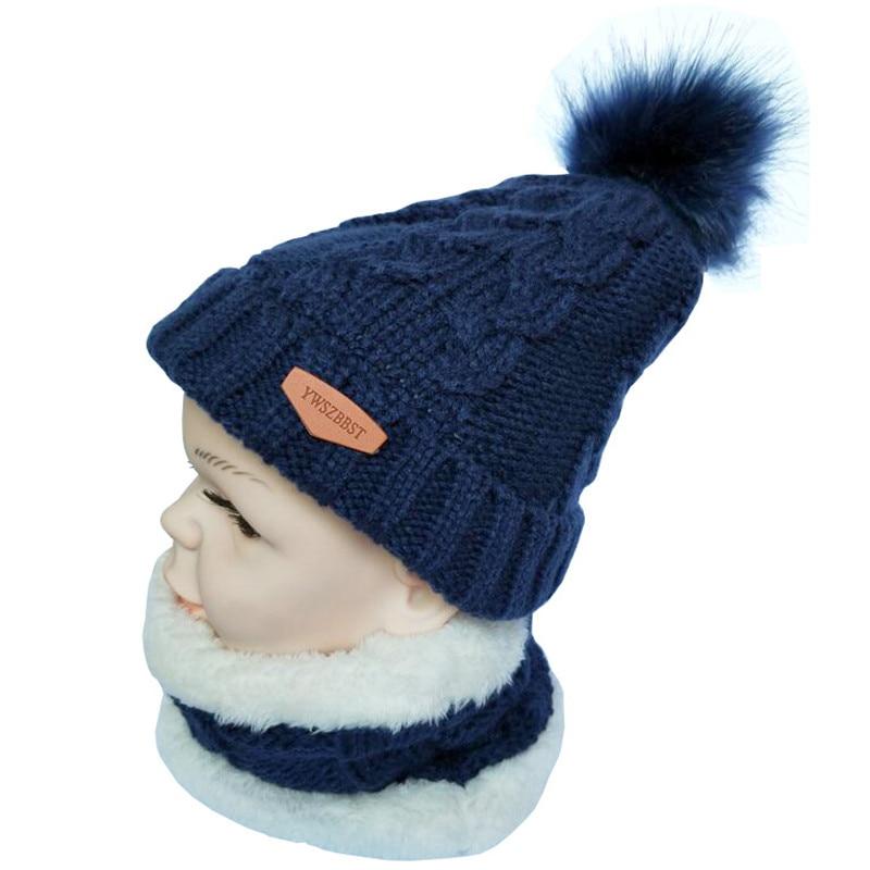 Winter Baby Hat set Plush Warm Baby Cap Scarf Infant Hat Baby Hats for Boys  Girls Children Cap Scarf-Collars Women Men Caps  c3e4fd8f99