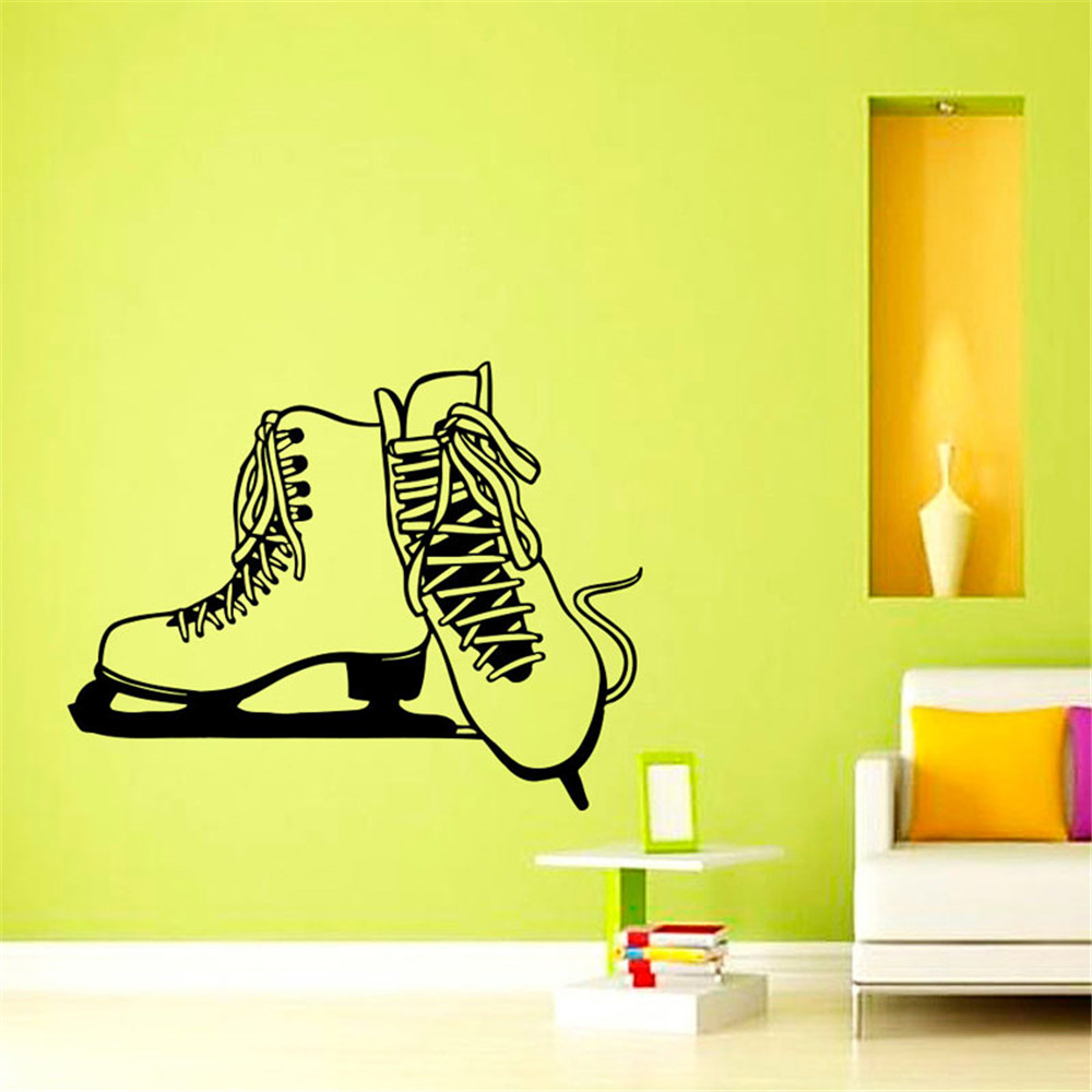 Ice Skates Silhouette Wall Stickers Ice skating Sports Home Decor ...