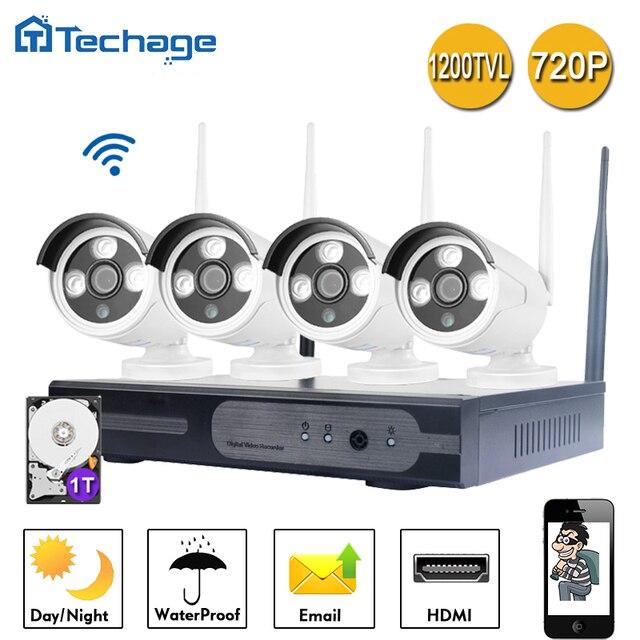Techage 720P WIFI CCTV System 4CH Wireless NVR 1200TVL IP Camera ...